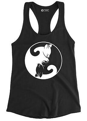 Cat Ying Yang Tank Top Funny Crazy Lady Cat Love Mother Animal Graphic T-Shirt