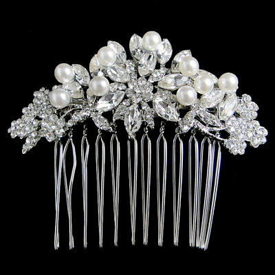 Bridal Bridesmaid Pearl Flower Hair Comb Accessories Austrian Crystal Silver GP