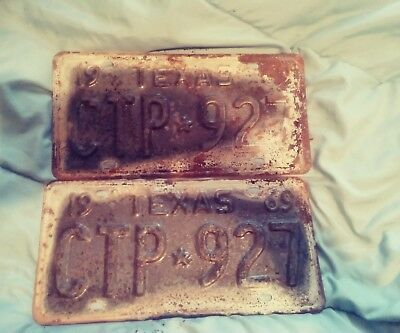 Vintage 1969 TEXAS CTP*927 MATCHING SET Automobilia License Plate Tag