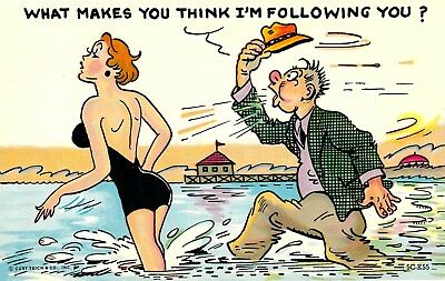 """VINTAGE 1960s Comic Cartoon """"What Makes You Think I'm Following You ?"""" Chrome PC"""