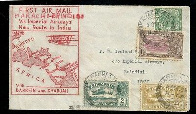 1932 First Airmail Flight Cover Karachi India to Brindisi Italy Imperial Airways