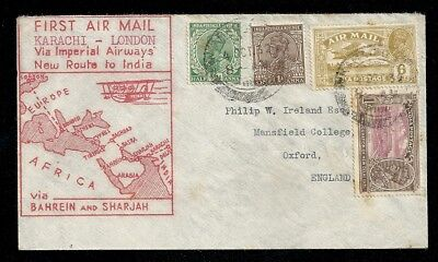 1932 First Airmail Flight Cover Karachi India to London UK Imperial Airways