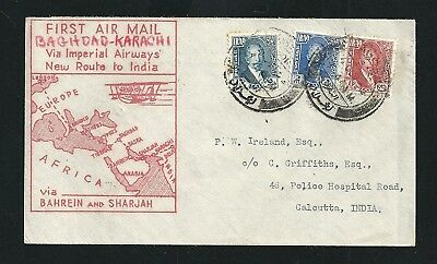 1932 First Airmail Flight Cover Bagdad Iraq to Karachi India Imperial Airways