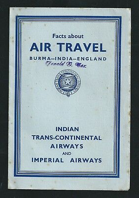 Indian Trans Continental Imperial Airways Airmail Postal Guide Burma India UK