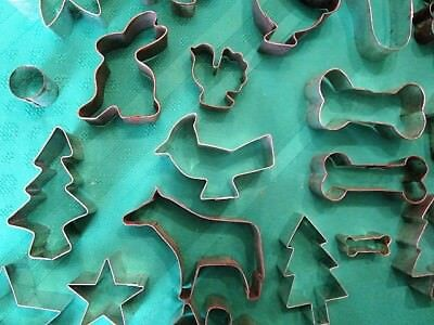 Vintage Tin Cookie Cutters Horse, lot of 21, Soldered Folk Art, Primitive