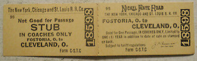 New York, Chicago & St. Louis Railroad ticket Fostoria, OH to Cleveland