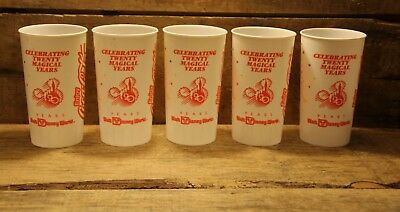 Lot Of 5 Vintage Walt Disney World 20th Anniversary Coca Cola Cups Mickey Mouse