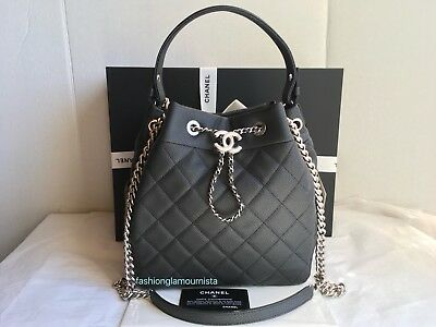 9ea659479730 Auth BNIB Chanel Black Caviar Medium Coco Handle Drawstring Bucket Bag 2018  18B