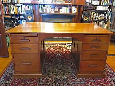 Vintage Antique Wooden Timber Work Office Writing Desk. Double Pedestal Desk.