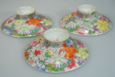 Chinese Famille Rose Porcelain Millefleur Cup Lids