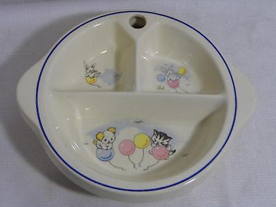 vintage EXCELLO pottery divided warmer baby food plate DISH / bunny puppy kitten
