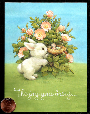 MOREHEAD Bunny Rabbit Bird Nest Flowers Adorable SMALL Easter Greeting Card NEW
