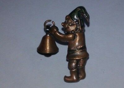 Vintage Elf Gnome Lapel Pin Brooch with dangling bell