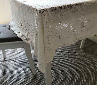 Vintage Laura Ashley Lace Square Tablecloth/topper With Scalloped Edging