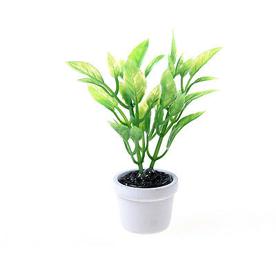 New 1/12 Green Plant in white pot Dollhouse Miniature Garden Accessory 2017 TZX
