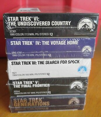 Lot of 5 Brand New Sealed Star Trek VHS Movies