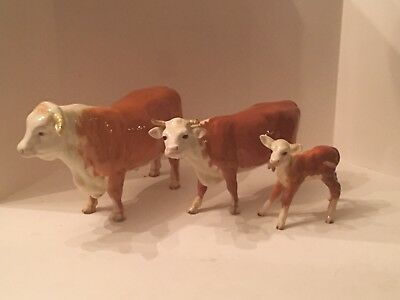 Vintage Rare Beswick Cows Hereford Bull,Cow,Calf Figurines Made 1941