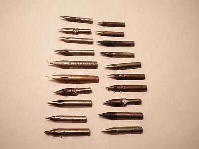 Lot of 20 Vintage Fountain Pen Nibs-Esterbrook,Spencerian,Gillott's,Tank Pen ++
