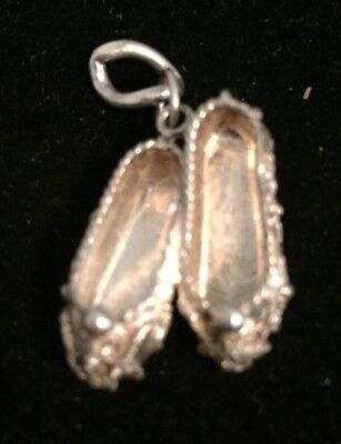 Vintage Sterling 3-D Pair Of Fancy Slippers Charm