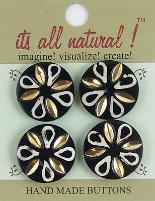 Handmade Natural Bone Buttons - Black/White 26mm Brass Inlay Leaves Flower
