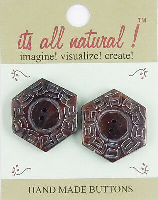 Handmade Natural Bone Buttons - Antique Brown - 32mm - Hexagon Aztec Design
