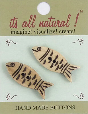 Handmade Natural Bone Buttons - Antique Ivory - 28x30mm - Pair of Fishes