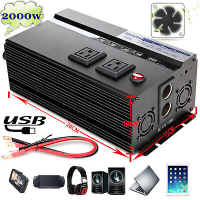 2000W /4000 Watt Peak Power Inverter DC 12V to AC 120V For RV Truck Cars Pickup