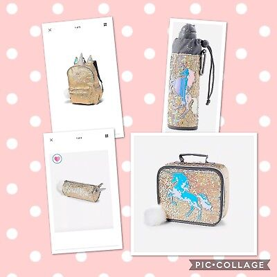 Justice Gold Unicorn Sequin Backpack, Lunch Tote Pencil Pouch Water Bottle! 4 Pc