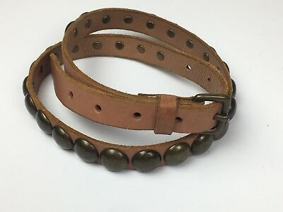 Gap Womens Sz S Brown Leather Belt with Aged Brass Metal Rivets 3/4 Inch Wide
