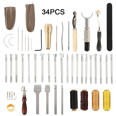 34Pcs Leather Craft Punch Tools Stitching Carving Working Sewing Saddle Kits