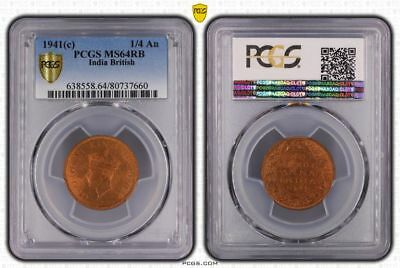 1941(c) India British One Quarter Anna PCGS MS64RB (Red-Brown) Collectible Coin