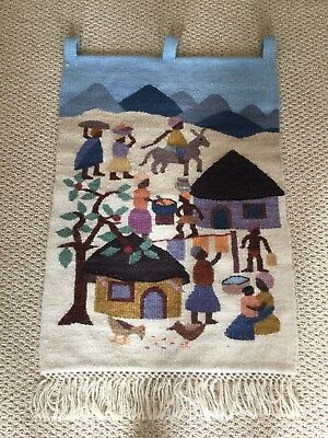 Lesotho Africa Hand Spun 100% Thick Mohair Hand Woven Wall Hanging