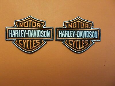 "Lot Of 2-""harley-Davidson Embroidered Iron On Patches  2-3/4 X 3-1/2"