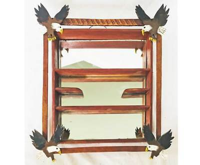 Vintage Folk Art Bald Eagle Shadow Box Wall Hanging Mirror Shelf Wood A Anderson