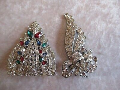 Pair of Vintage/Antique Clear Rhinestone Dress/Scarf Clips -One Needs Repair