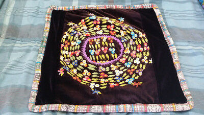 square throw pillow cover made from huipil in Guatemala - corn and flower motif