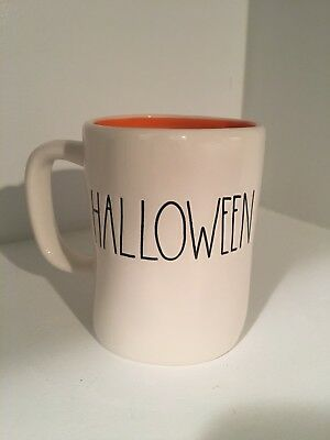 New Rae Dunn Happy Halloween Large Letter Mug Orange Inside