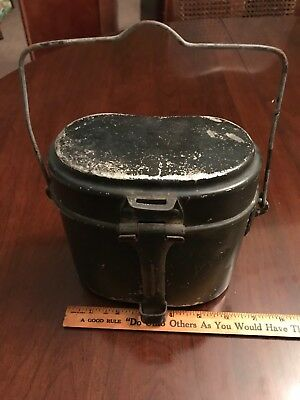 WWII Nazi Germany Soldier Mess Kit 2 pieces Authentic. Black.