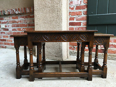 Set 3 Antique English Carved Oak Nesting Coffee Tea Table Joint Stool Bench