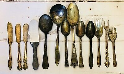 Vintage Silverplate Lot Tarnished Spoons Butter Rogers Old Company Community