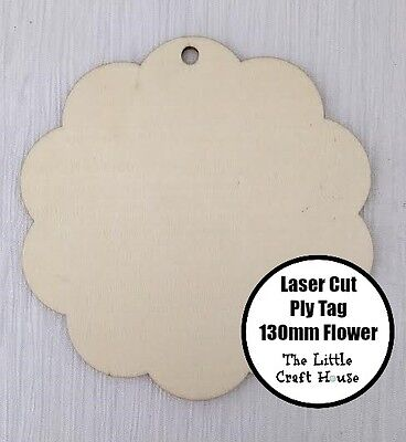 1PC 130mm Wooden Laser Cut Ply Hang Tag Flower Blank Shape Wood Shapes Craft DIY