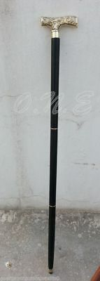 Antique Brass Vintage Style Wooden Walking Cane Stick Victorian Black Wood Gift