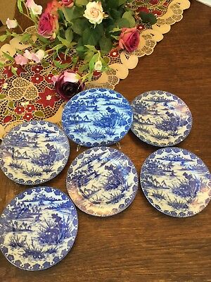 "Antique Japanese Plates Set Of 6 Blue White Hallmarked 7"" Willow"