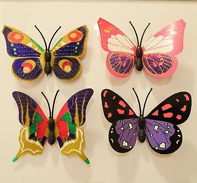 Butterflies Magnet Lot Of Four Acetate Colourful