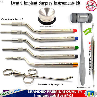 Dental Bone Graft Syringe Offset Sinus Osteotomes Implant Elevator Buser Mallet