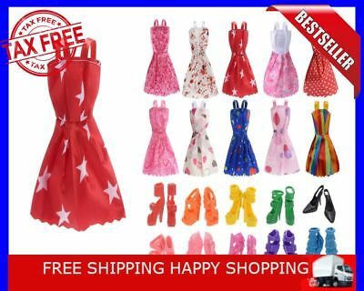 Barbie Doll Clothes Accessories Huge Lot Party Gown Outfits Girl Gift 10 Pcs New