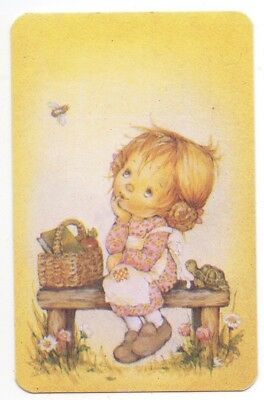 LEE Cute GIRL on a SEAT Yellow Blank Back Swap Playing Card