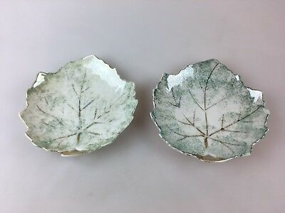 Vintage - Two Little Leaf Shaped Dishes Made In Japan - Green Tones