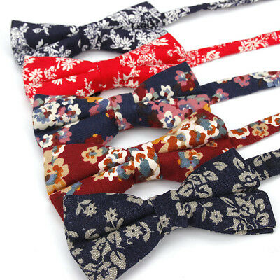 Mens Cotton Classic Flower Pre-tied Bow Tie Wedding Party Adjustable Bowtie