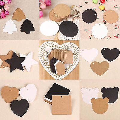 100 Pcs Retro Blank Brown Kraft Paper Price Tags Wedding Favor Labels Gift Cards